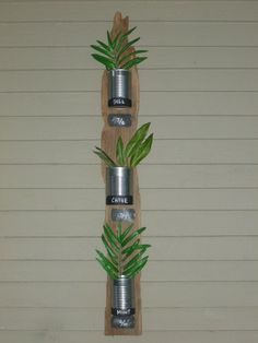 Vertical garden from driftwood and recycled tins