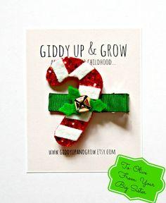 Felt Hair Clip - Candy Cane Hair Clip, Christmas Hair Clip, Giddy Up and Grow on Etsy, $12.00