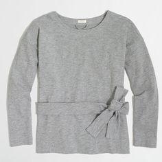 J.Crew Factory lightweight tie-waist sweatshirt ($33) ❤ liked on Polyvore featuring tops, hoodies, sweatshirts, lightweight sweatshirts, j crew tops, cotton sweatshirts, long sleeve tops and long sleeve sweatshirt