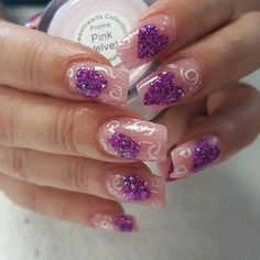 #Repost @trish.sanchez.ttnme ・・・ Tammy Taylor Pink Velvet prizma with First Kiss Dazzle Rocks glitter hearts. And white gel paint