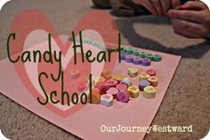Candy Heart School -great kindergarten math lessons using candy Valentines Games, Valentines Day Activities, Valentine Ideas, School Lessons, Math Lessons, Homeschool Math, Curriculum, Math Night, Valentine's Day Printables