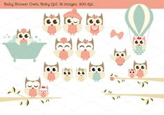 Baby Shower Owls. Baby Girl. by Delagrafica on Creative Market
