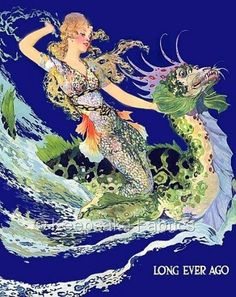 Mermaid Dragon Long Ever Ago Crazy Quilt Fabric Block