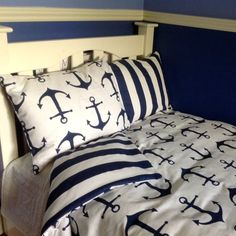 Dorm Twin XL Beach Bedding Set Navy and Stripe  and Anchors