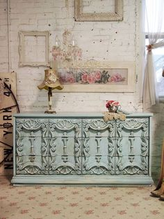 Painted Cottage Chic Shabby Aqua French Fancy by paintedcottages Paint Furniture, Home Decor Furniture, Shabby Chic Furniture, Furniture Projects, Vintage Furniture, French Furniture, Painted Buffet, Painted Cottage, Vintage Dressers