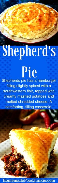 #recipehomemade #southwestern #shepherds #casserole #hamburger #filling #junkie #spiced #topped #flair #food #wit... Hamburger Spices, Creamy Mashed Potatoes, Casserole, French Toast, Pie, Cheese, Meat, Breakfast, Food