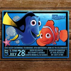 Finding Dory Birthday Invitation-Finding Dory by CoralPartyDecor
