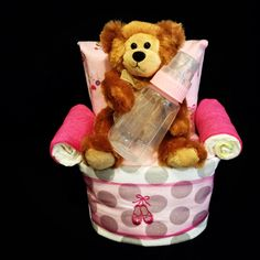 Pretty Pink Chair Diaper Cake for Baby Girl