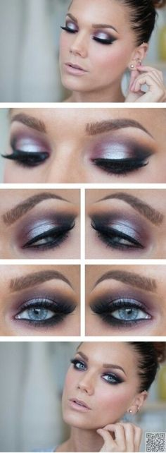 When it comes to eye make-up you need to think and then apply because eyes talk louder than words. The type of make-up that you apply on your eyes can talk loud about the type of person you really are. Love Makeup, Makeup Tips, Makeup Looks, Makeup Ideas, Purple Makeup, Makeup Tutorials, Gorgeous Makeup, Makeup Set, Prom Makeup Blue Dress