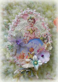 "Easter Egg ATC ""sittin' pretty""  by Mercedes Scott"