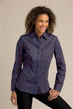 Long-Sleeve Stretch Poplin Shirt - Women's Sizes: This shirt has just enough stretch to fit perfectly without pulling across the front or gaping at the button holes. Best-selling style with a shirt collar and button front, this classic blouse is shaped with waist seams.