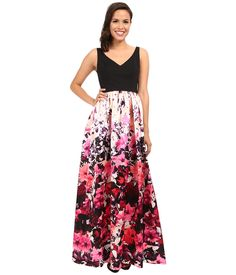Image of Adrianna Papell - Deep-V Printed Floral Mikado Dress (Pink Multi) Women's Dress