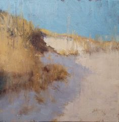 """Painting a Day, Impressionist oil landscape of Cape Cod by artist Steve Allrich, 'Dunes, Late Morning' 12 x 12"""" oil on panel"""