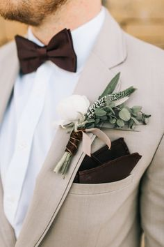 Rustic Organic Boutonnieres | Photography: Sarah Libby Photography | Tuxedo: Bella Rose Bridal | Florist: Southwind Hills | #weddings #bridesofok #fortheboys