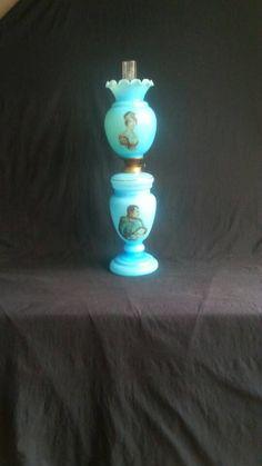 Victoriaanse NAPOLEON Opaline/Bristol Glazen 3-Delige Europese Gone With The Wind/ Banquet Olie Lamp/Petroleum Lamp (Eind 19e E)