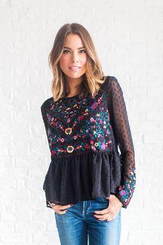 DETAILS: - Beautiful embroidered blouse with peplum detail - Swiss dot chiffon fabric - Model is wearing a small MEASUREMENTS: Shoulder(Cm): S:37cm, M:38cm, L:39cm Bust(Cm): S:96cm, M:100cm, L:104cm L