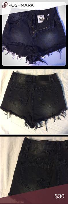 UNIF black cutoff jean shorts 24 high rise offer Super cute faded black 24 unif cutoff jean shorts high rise UNIF Shorts Jean Shorts