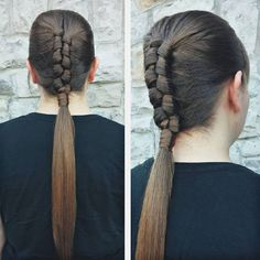 tight braid into pony hairstyle