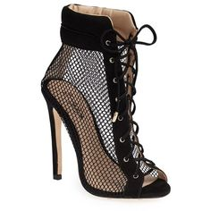 Emily B x ZiGiNY 'Dream' Mesh Bootie ($199) ❤ liked on Polyvore featuring shoes, boots, ankle booties, heels, booties, heels stilettos, mesh bootie, short boots, heeled booties and heeled ankle booties