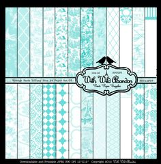 Vintage Paris Tiffany Blue Paper 24 Sheets by withwildabandon, $3.99