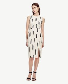 """Adventure ready: our iconic sheath dress gets dashing in with intriguing texture. Jewel neck. Sleeveless. Front side slit. Hidden back zipper with hook-and-eye closure. Lined bodice. 24"""" from natural waist."""