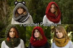 Five 5 Crochet Patterns, Scarf Patterns Discount Package