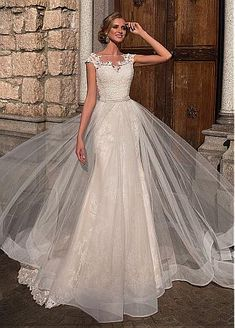 6fd648392922  192.50  Glamorous Satin Scoop Neckline A-line Wedding Dresses With Lace  Appliques. Abiti Da Sposa ...
