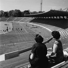 Spectators on the terraces, National Recreation Centre. Crystal Palace 1964