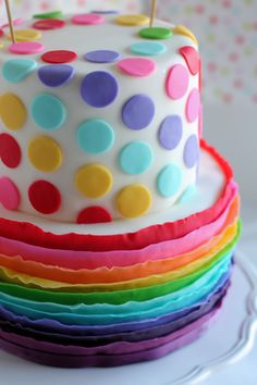 rainbow polka dot shower   Sugar Rainbow Cakes   Bring Sweetness Of Life