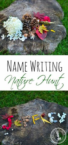 Name Writing Nature Hunt: Make your time outdoors special and craft your names with natural materials! An idea for an outing with kids or your partner if you both feel like having some innocent romantic fun. - Name Writing Nature Hunt - Adventure in a Box Diy Nature, Nature Hunt, Nature Study, Art In Nature, Nature Collage, Nature Table, Land Art, Outdoor Education, Outdoor Learning