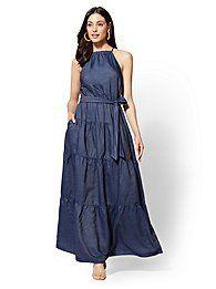 Petite Ruffled Halter Maxi Dress - Dark Wash - New York & Company Denim Maxi Dress, Halter Maxi Dresses, Chiffon Maxi, Plus Size Maxi Dresses, Casual Dresses, Fashion Dresses, Dress Outfits, Vertical Striped Dress, Plus Size Fall Outfit