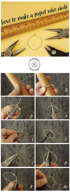 Jewelry making tutorial for beginners— how to make a circle using jewelry wire. A basic wire wrapping DIY project. Jewelry making tutorial for beginners— how to make a circle using jewelry wire. A basic wire wrapping DIY project. Bijoux Wire Wrap, Wire Wrapped Jewelry, Metal Jewelry, Beaded Jewelry, Boho Jewelry, Jewellery Box, Jewelry Holder, Wedding Jewelry, Jewellery Market
