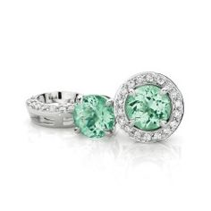 Sublime 1.68ct Mozambique Tourmaline stud Earrings set in 18ct White Gold with removable White Diamond Jackets