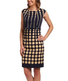 Another great find on #zulily! Navy & Beige Dots Belted Sheath Dress #zulilyfinds