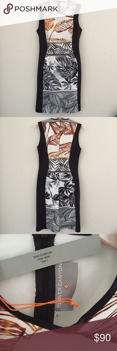 NWT Scuba Orange Grey Paradise Dress Form fitting with scuba stretch material - new with tags Clover Canyon Dresses Midi