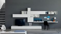 Modern Tv Stand With Desk Wall Unit Small Home Office Ideas Contemporary Tv Units, Modern Wall Units, Modern Tv, Modern Desk, White Lacquer Desk, Desk Wall Unit, Masculine Interior, Desk In Living Room, Muebles Living