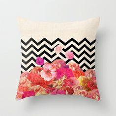 Chevron Flora II Throw Pillow by Bianca Green Decor, Printed Pillow, Pillow Shams, Society6 Pillow, Pillows, Decorative Pillows, Floor Pillows, Chevron, Throw Pillows