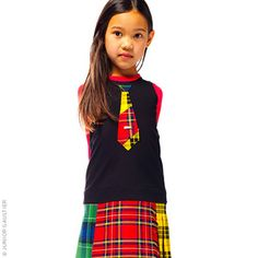 Junior Gaultier - Sleeveless black milano jersey dress and tartan mini skirt