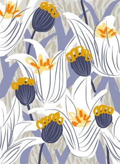 Blue and golden floral, by frameless