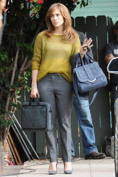 Jennifer Lopez wearing Eileen Fisher Plaited Mohair-Blend Jewel-Neck Tunic in Chickory