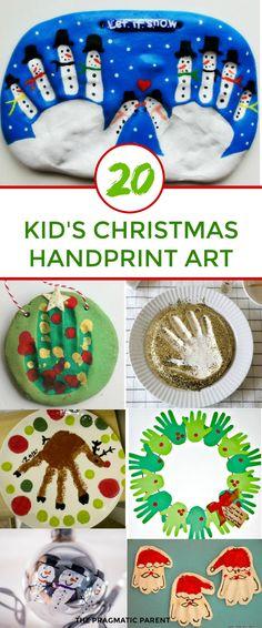 Christmas Handprint Art for kids to make. Christmas Handprint art makes the best homemade gifts and keepsakes you'll cherish. Kid's Christmas Handprint art. #christmashandprintart #handprintart #kidshandprintart #kidschristmashandprintart