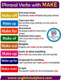 Phrasal Verbs with MAKE in English writing, English Verbs, English Sentences, Learn English Grammar, English Writing Skills, English Phrases, Learn English Words, English Language Learning, English Study, English Lessons