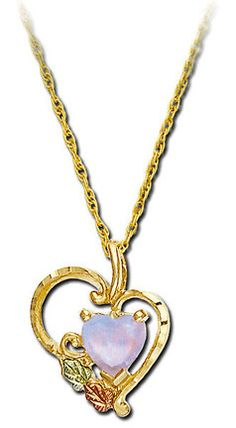 Black Hills Gold Heart Necklace with Opal Heart Pendant