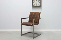 Buffalo Industrie Freischwinger - Vintage Lederstuhl - Art. 305
