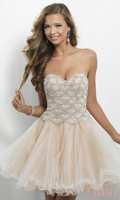 CHIQ | Short Strapless Champagne Babydoll Dress Blush