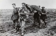 German POW's carrying Canadian wounded off the battlefield at Vimy Ridge.