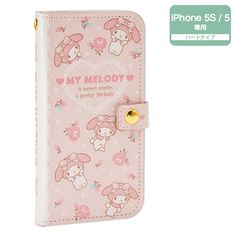 My Melody Bifold iPhone 5 5S Cover Case with 2 Card Pockets SANRIO JAPAN