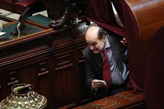 CASTING A VOTE: Italy's Democratic Party chief Pier Luigi Bersani walked through a curtain during the first ballot in Parliament to elect a new president in Rome on Thursday. (Alessandor Di Meo/European Pressphoto Agency)
