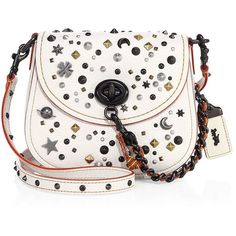 COACH 1941 Stardust Studded Leather Saddle Bag (€485) ❤ liked on Polyvore featuring bags, handbags, shoulder bags, apparel & accessories, chalk, saddle bags, studded shoulder bag, leather shoulder bag, white leather handbags and studded leather purse