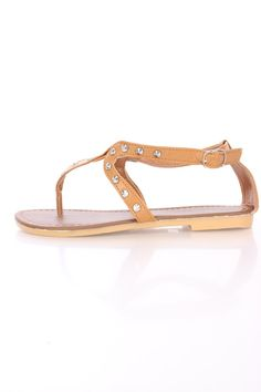 Tan Studded T Strappy Thong Sandals Faux Leather